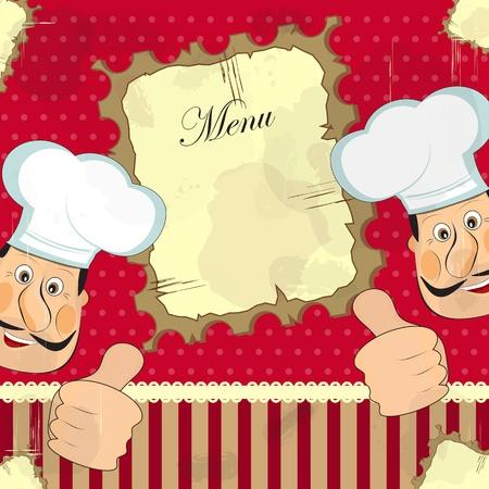 restaurant staff: vintage cover menu - chef on grunge background Illustration