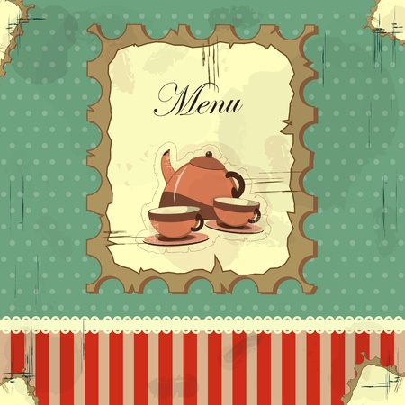 saucer: Cover the menu in a vintage style with a teapot and cups