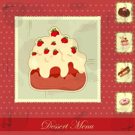 Beautiful vintage card with a strawberry and chocolate cake Vector