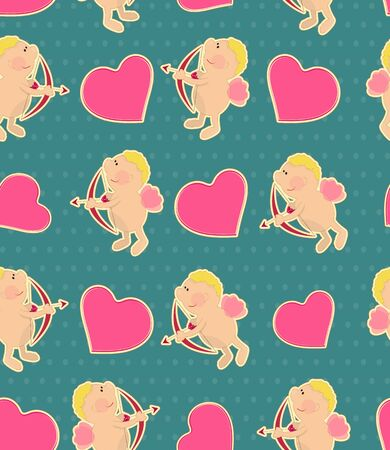 valentin: seamless background for Valentines Day in vintage style with Cupid