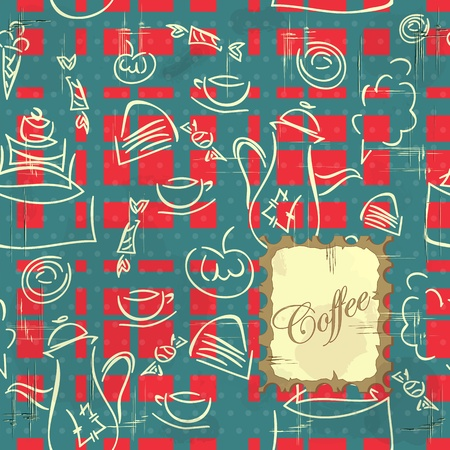 seamless texture - coffee, cake and sweets on vintage background Vector