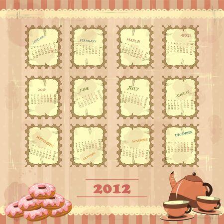 Calendar 2012 in vintage design - Week starts on Monday Vector