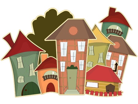 retro houses isolated on white background Vector