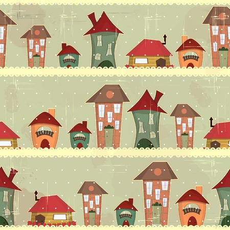 retro houses - christmas seamless in vintage style Vector