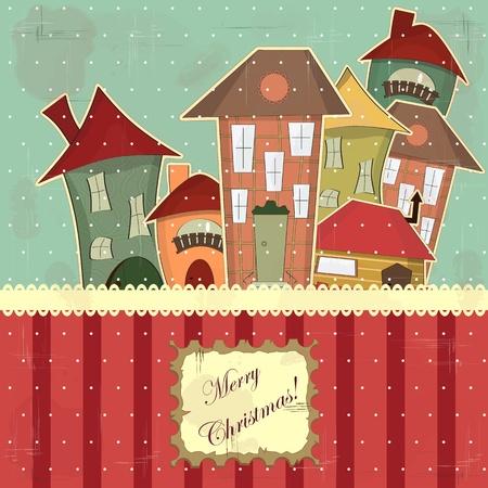 Kerstkaart in vintage stijl - retro huizen in de sneeuw Vector Illustratie