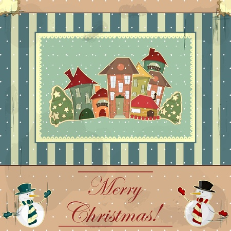 Christmas card in vintage style - retro houses in the snow Vector