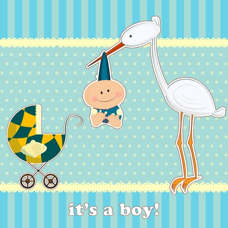 greeting card for baby boy with stork