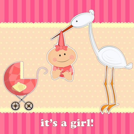 greeting card for baby boy with stork Vector