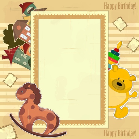 vintage card for baby girl and boy with toys Vector