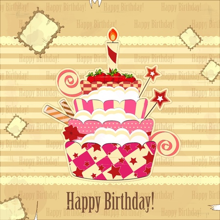 big strawberry birthday cake with burning candle Vector