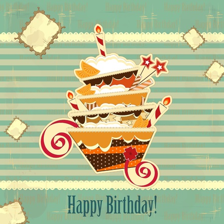 big chocolate birthday cake with burning candle Vector