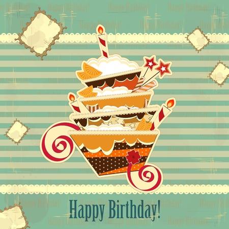 invito compleanno: grande compleanno torta al cioccolato con candela accesa Vettoriali