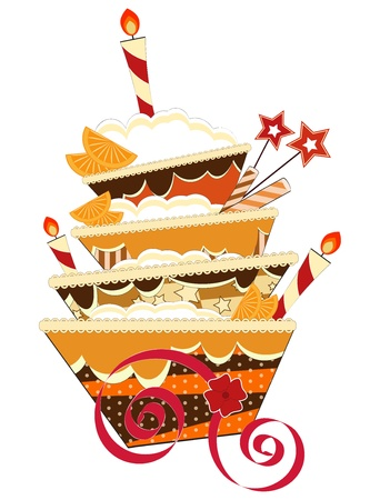big chocolate birthday cake with burning candles Vector