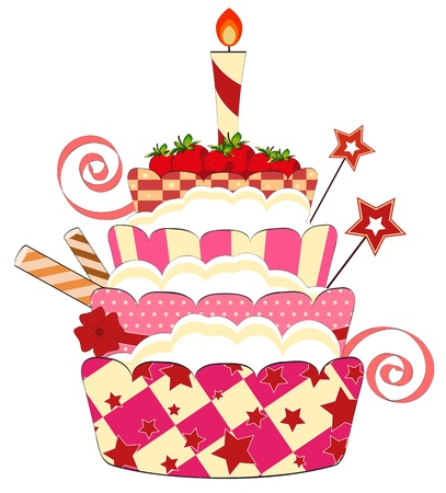 happy people white background: big strawberry birthday cake with burning candle Illustration