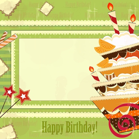 topping: greeting card with a big chocolate cake in a vintage style