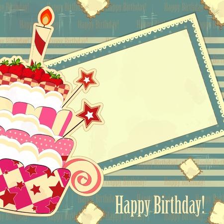 happy birthday cake: tarjetas de felicitaci�n con un pastel de fresa grande en un estilo vintage Vectores