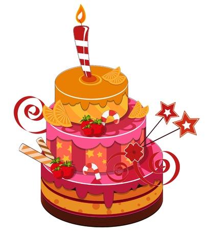 big strawberry birthday cake with burning candle Illustration
