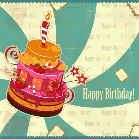 gateau anniversaire: grande g�teau d'anniversaire aux fraises avec bougie allum�e Illustration