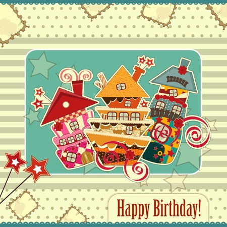 Greeting card with candy houses Vector