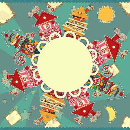Greeting card with candy houses and place for your text Vector