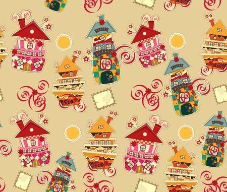 casita de dulces: fondo brillante sin problemas con las casas de caramelo Vectores