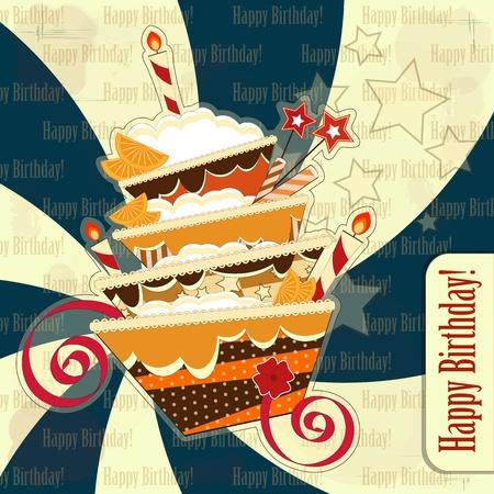 feliz cumplea�os caricatura: tarjetas de felicitaci�n con un gran pastel de chocolate en un estilo vintage