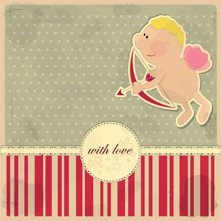 day saint valentin: Cards for Valentines Day in vintage style with Cupid Illustration