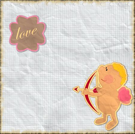 Cards for Valentine's Day in vintage style with Cupid Stock Photo - 11550011