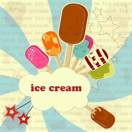 ice cream set  - vintage poster Stock Vector - 11550016
