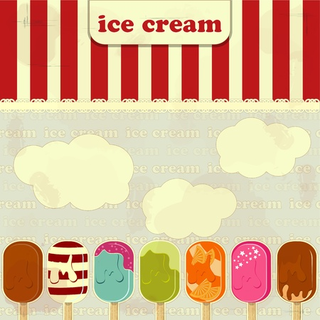 ice cream set  - vintage poster Vector