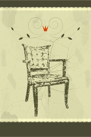 vintage post card with antique chair Vector