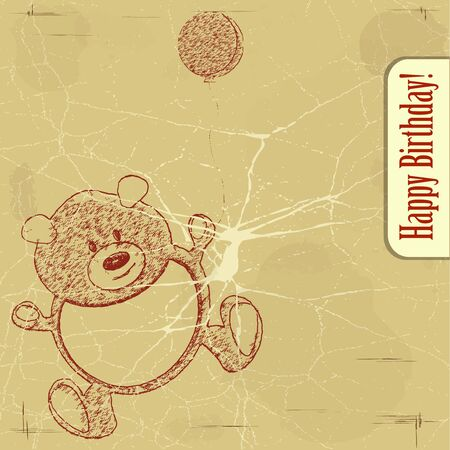 vintage postcard with a bear on grunge background Vector
