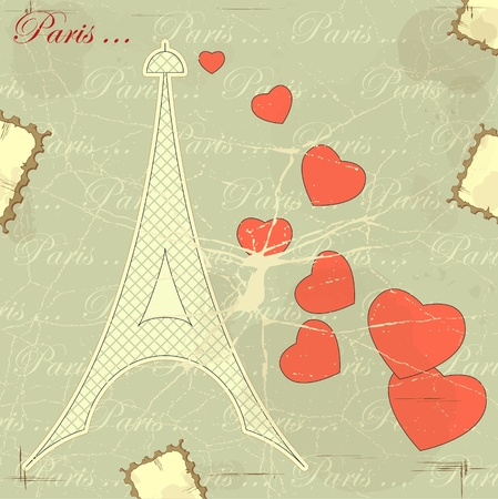 paris vintage: Eiffel tower on retro background with hearts and word Paris Illustration