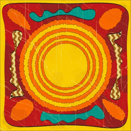 african culture: abstract background in grunge style - Australian ornament