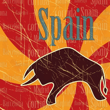 Spanish bull on grungy background - postcard Illustration