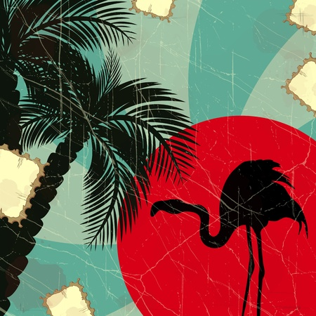 retro blue tropical background with flamingo and palm