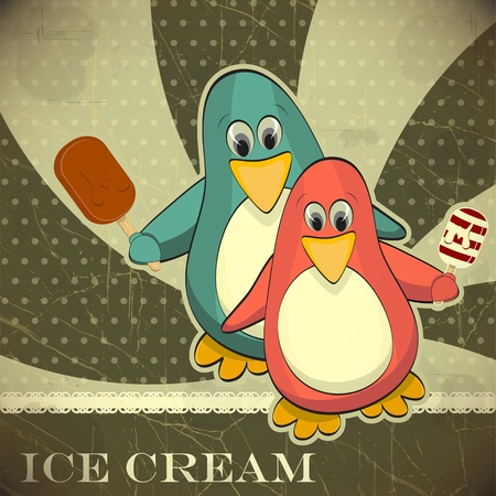 Penguin with ice cream - vintage card Vector