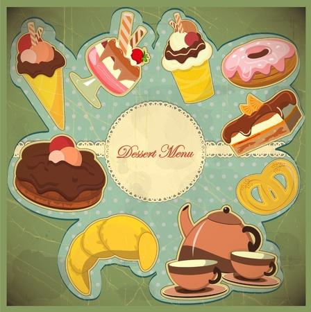 galletas: Hermosa tarjeta de la vendimia con una fresa y postre de chocolate Vectores