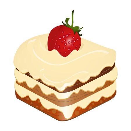 cake with strawberry isolated on white background