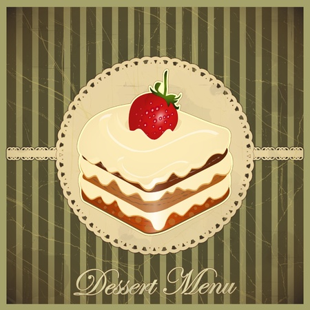 Beautiful vintage card with a strawberry and chocolate dessert Vector