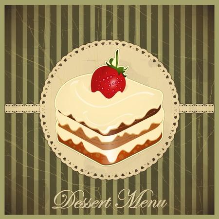 galletas: Hermosa tarjeta de la vendimia con una fresa y un postre de chocolate