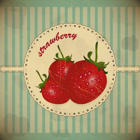ripe strawberry card - vintage style Vector