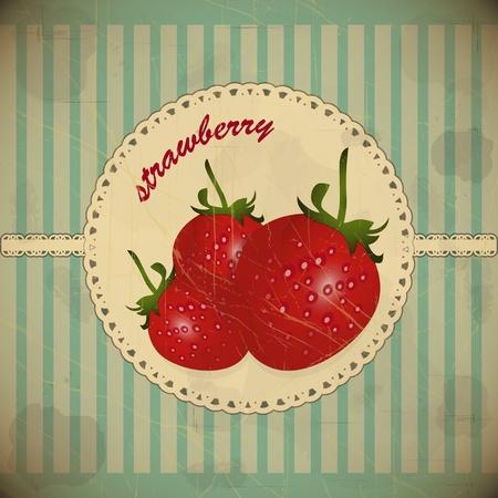 tarjeta de fresas maduras - estilo vintage