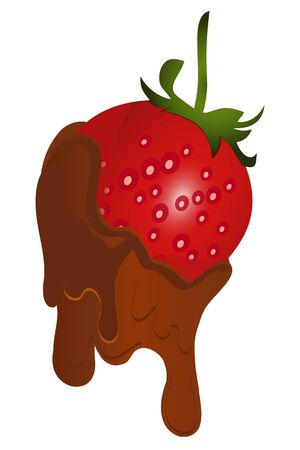 dipped: chocolate dipped strawberries isolated Illustration
