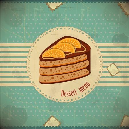 Hermosa tarjeta de la vendimia con la torta de chocolate de naranja - vector