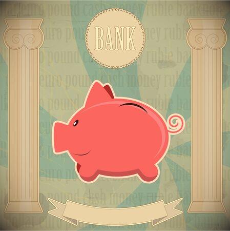Pink piggy bank - vintage card - vector illustration Vector