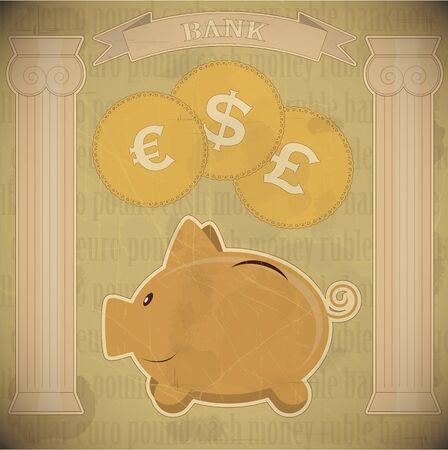 piggy bank - vintage card - vector illustration Vector