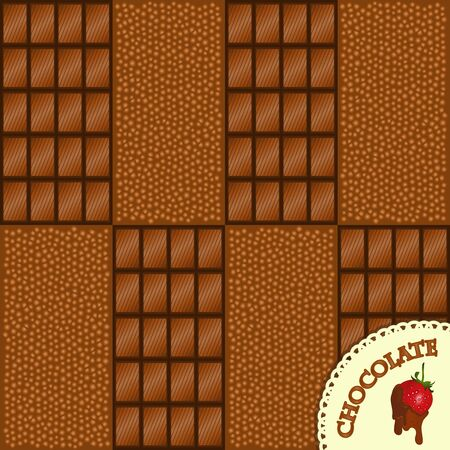 chocolate background with strawberries - vector illustration Vector