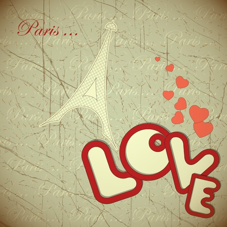 Amor - tarjeta para el Día de San Valentín en estilo vintage - ilustración vectorial Ilustración de vector