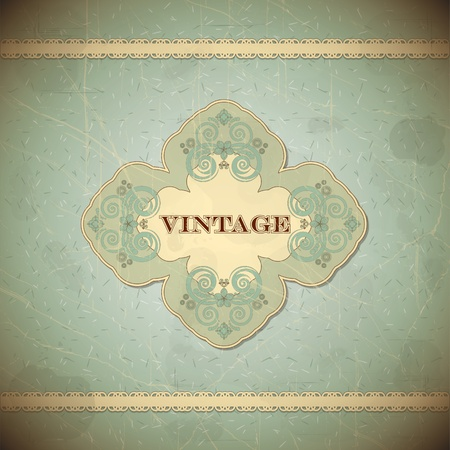 place card: Vintage card with place for text - scrapbook style - vector illustration Illustration